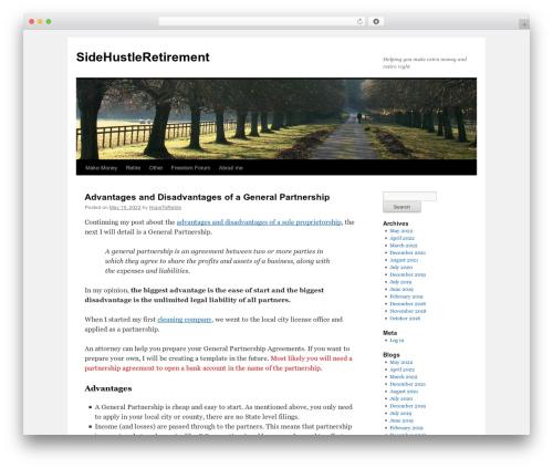 Twenty Ten theme WordPress free - sidehustleretirement.com
