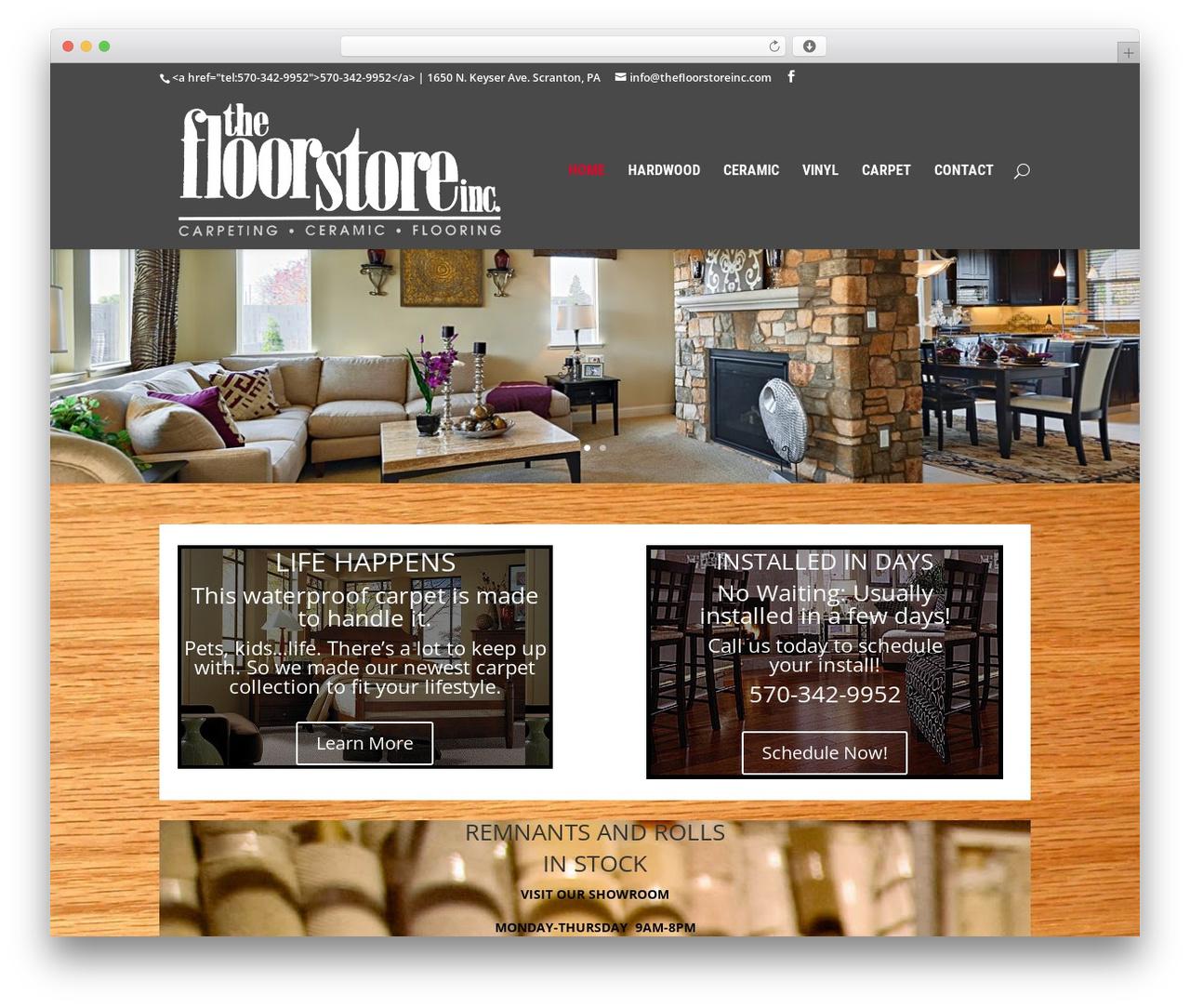 Divi WordPress shopping theme - thefloorstoreinc.net/site