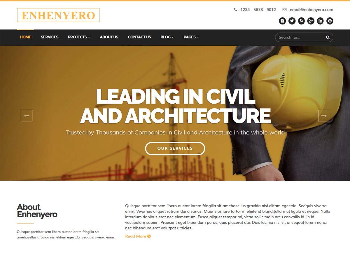Enhenyerowp WordPress template