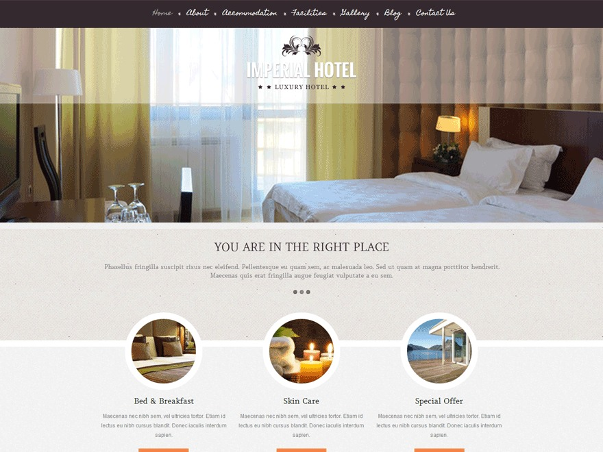 Imperial best hotel WordPress theme