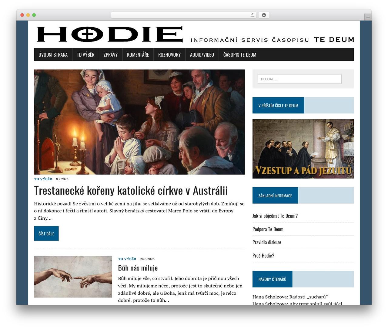 MH Newsdesk lite WordPress template free - tedeum.cz