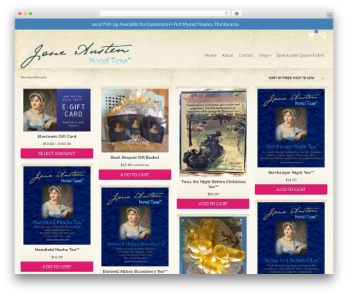 Pinnacle best free WordPress theme - janeaustennovelteas.com
