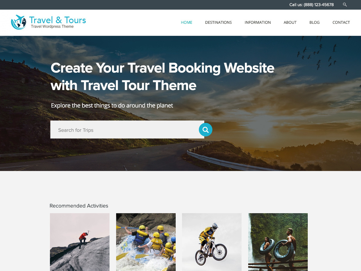 Travel Tour WordPress hotel theme