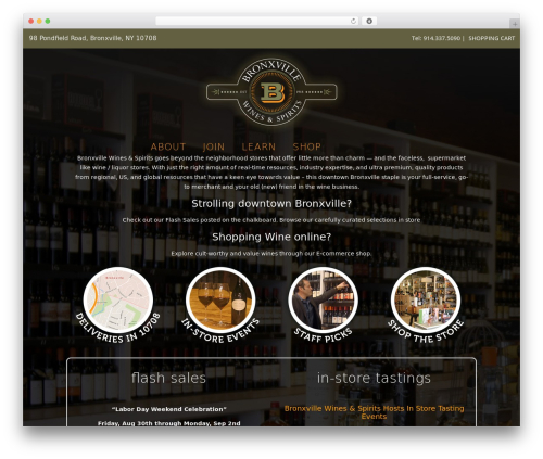Bridge WordPress ecommerce theme - bronxvillewinesandspirits.com