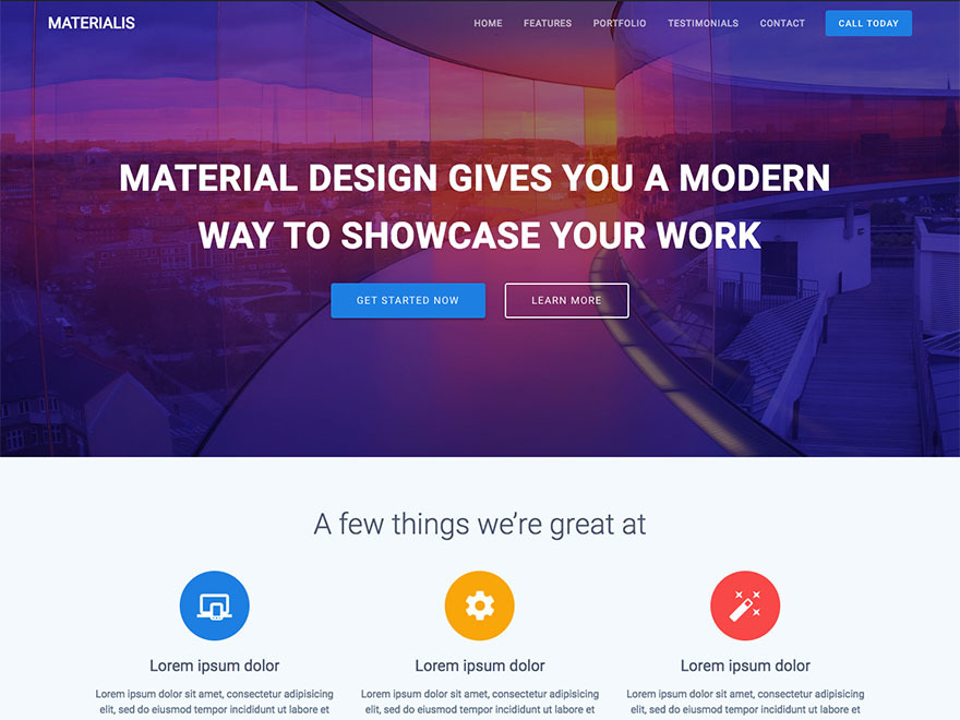 Materialis WordPress video template