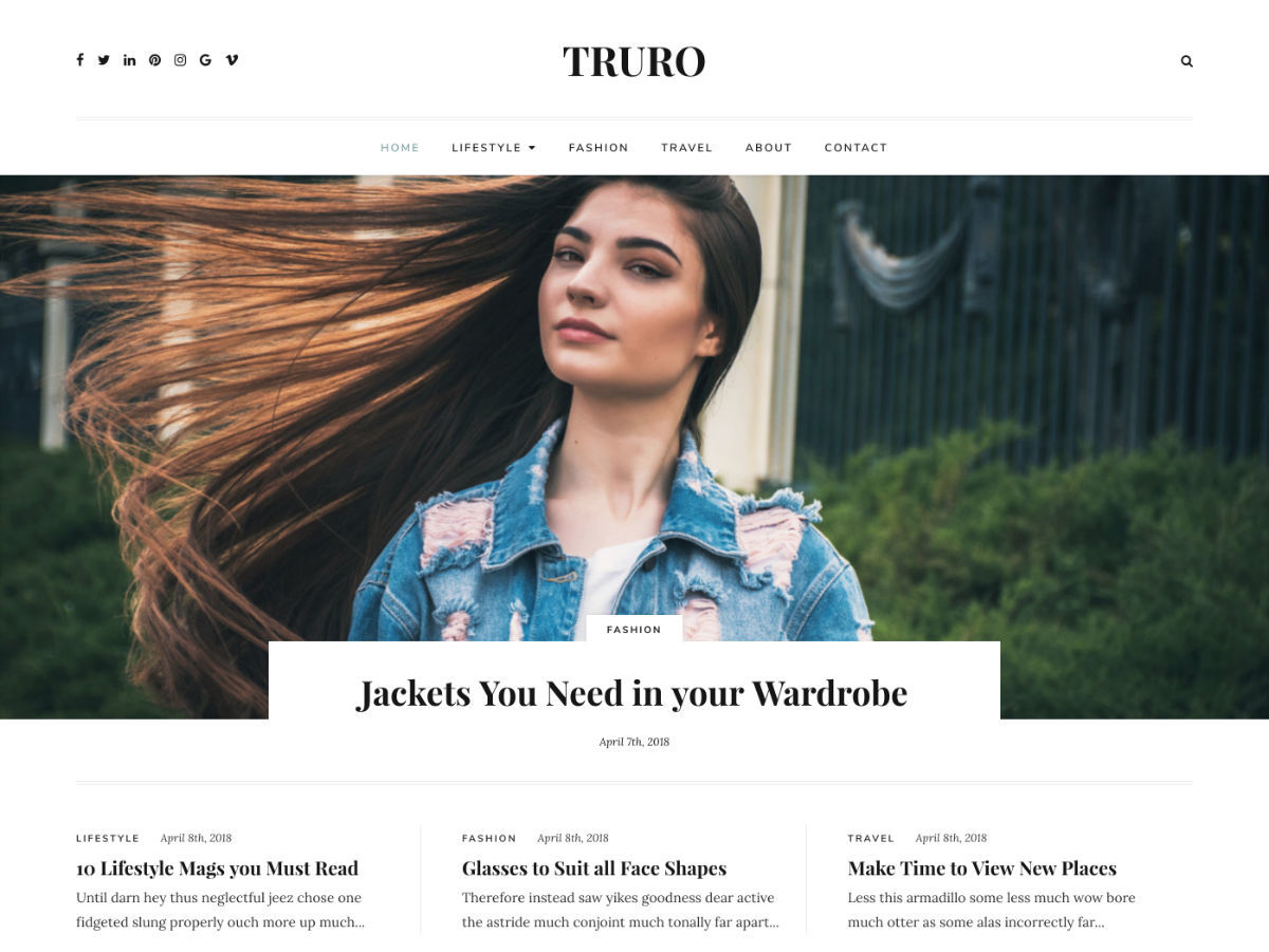 Truro WordPress template