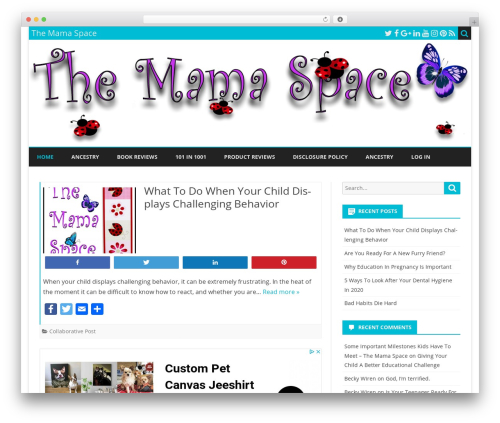 WordPress theme Ribosome Child - themamaspace.com
