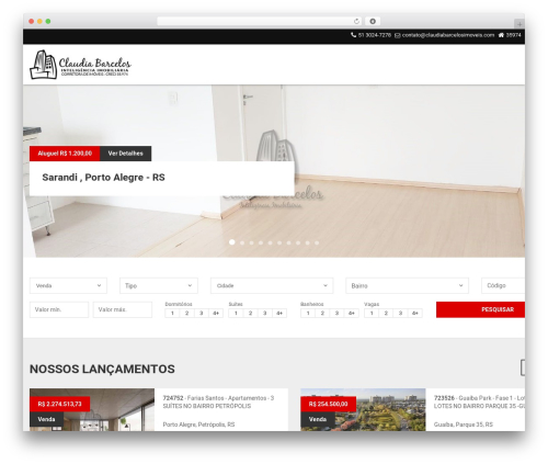 Vista Floripa WordPress theme design - claudiabarcelosimoveis.com