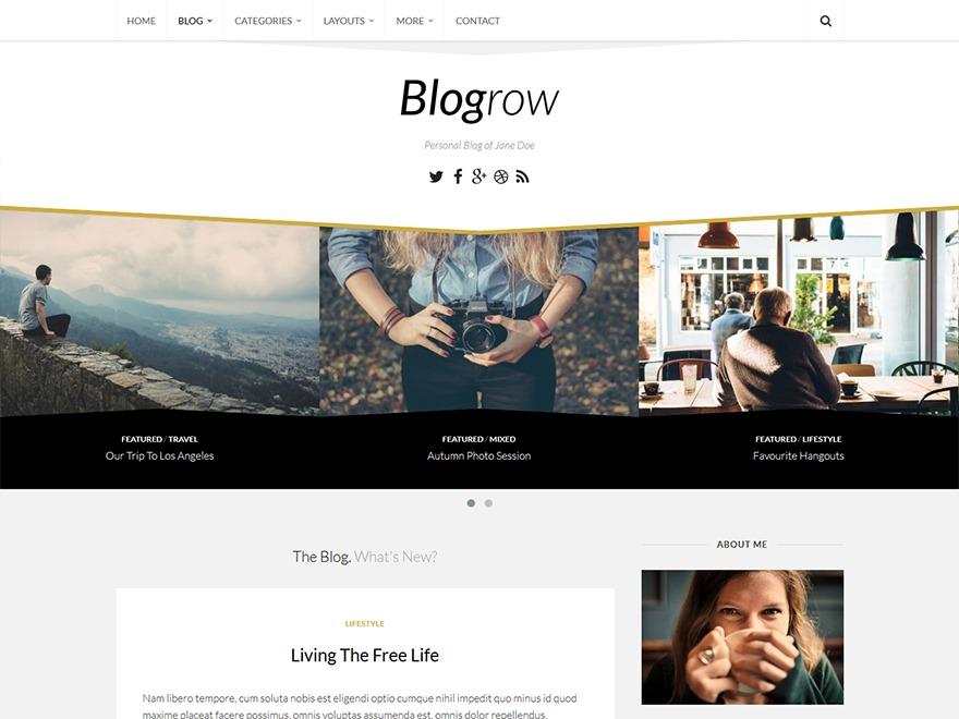 Blogrow WordPress template for photographers