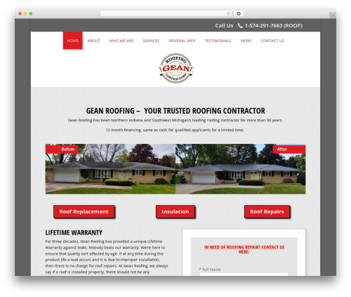 Theme WordPress Divi - geanroofing.com