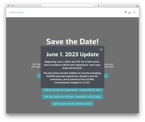 Divi theme WordPress - spectrumseminars.com