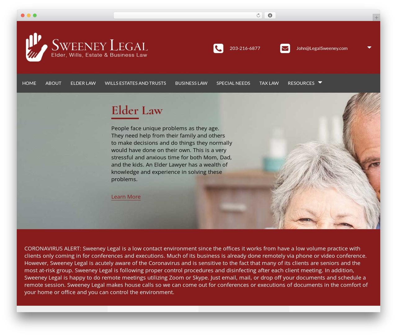 Skylar business WordPress theme - legalsweeney.com