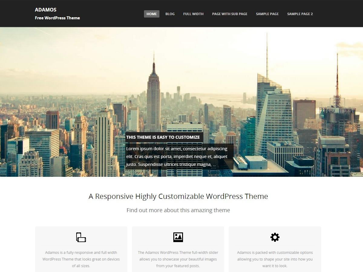 Template WordPress Adamosfeatured areas and much more.
