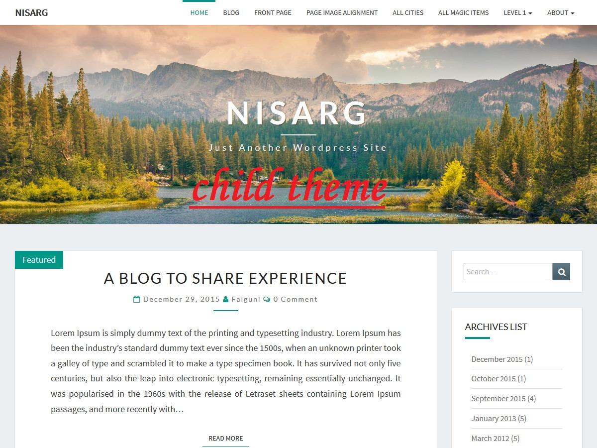 WordPress theme Nisarg Child Theme