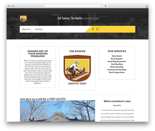 Constructzine Theme WordPress website template - therooferalabama.com