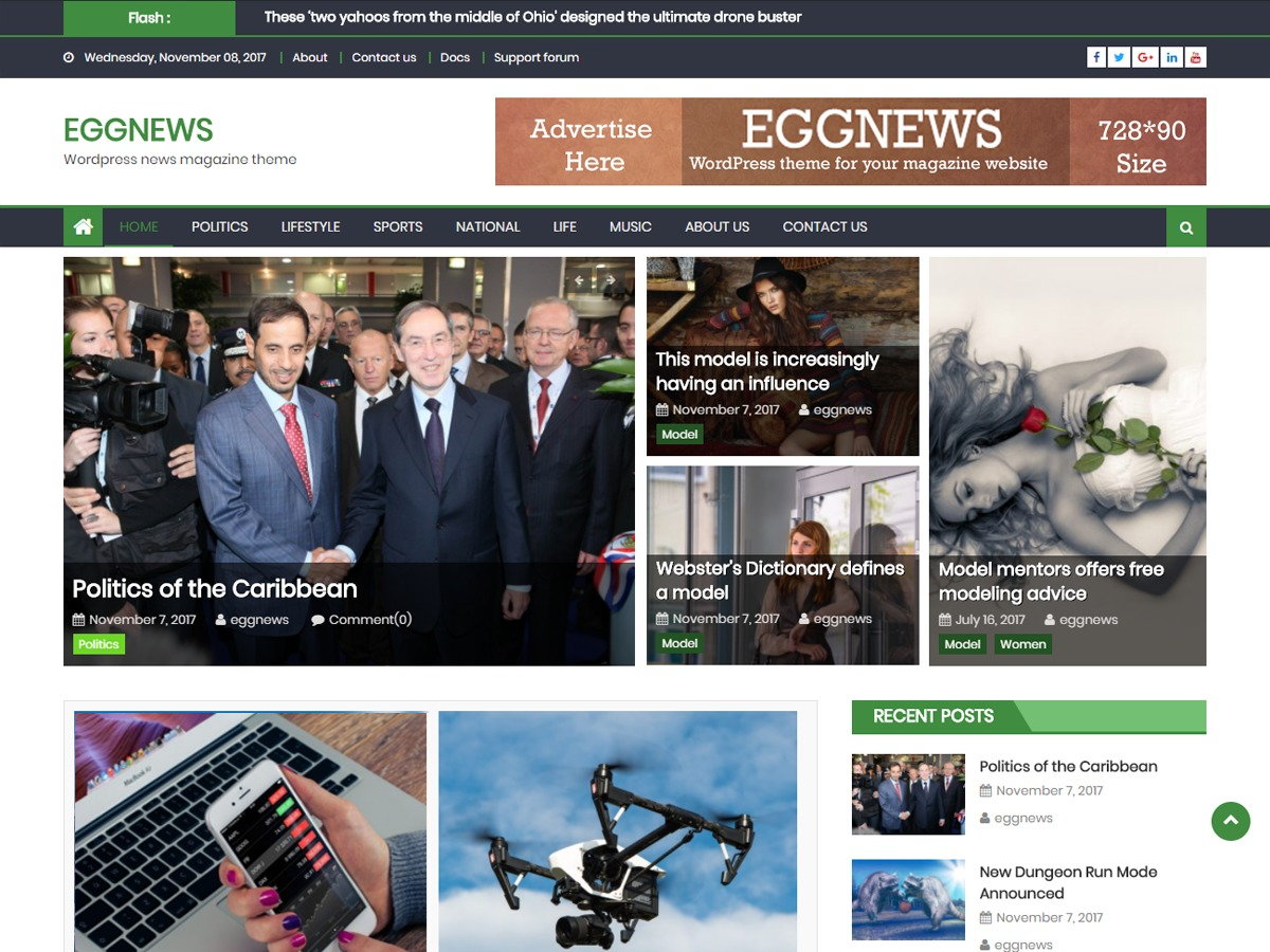 Eggnews WordPress news theme