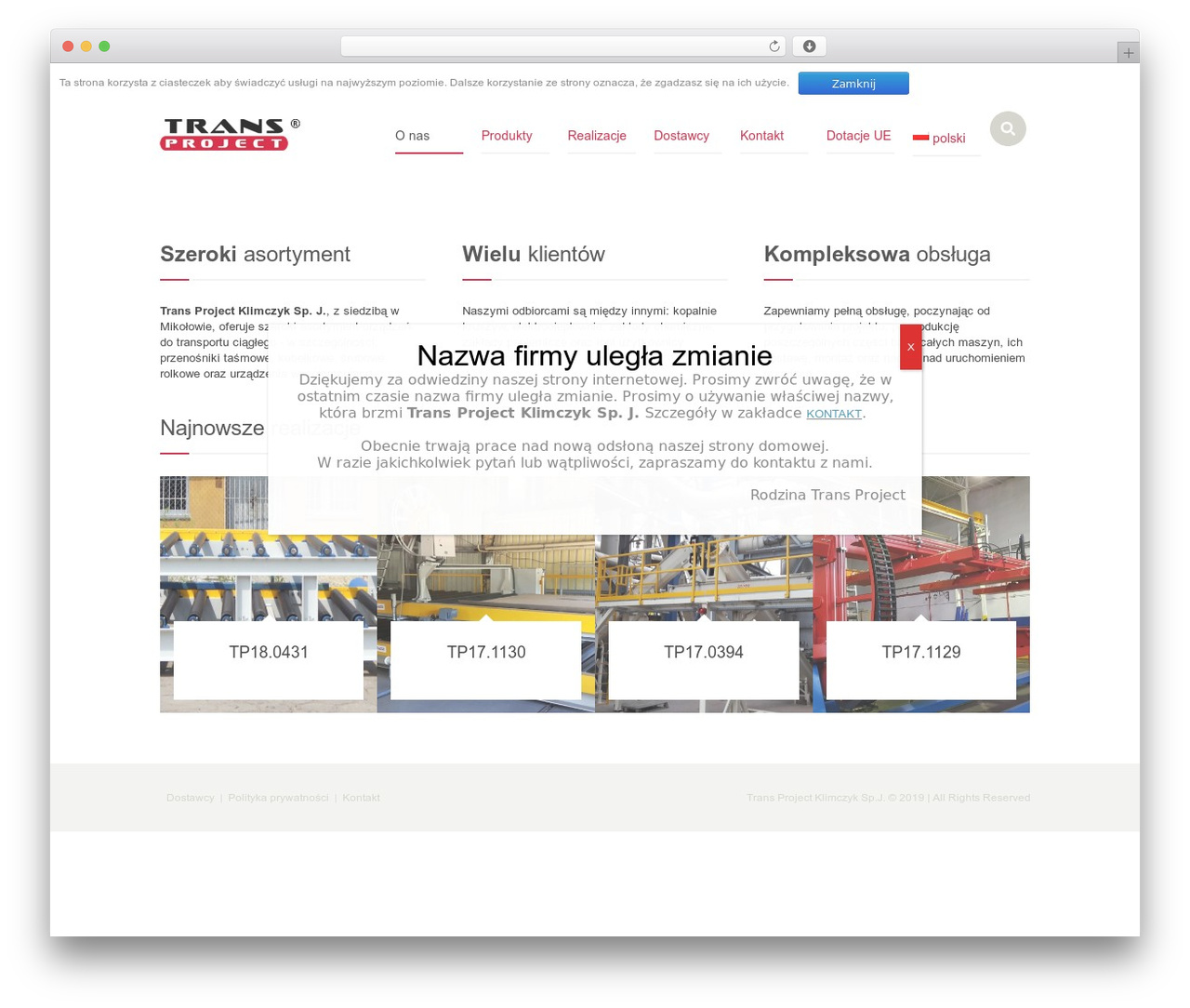 Industrial premium WordPress theme - transproject.pl