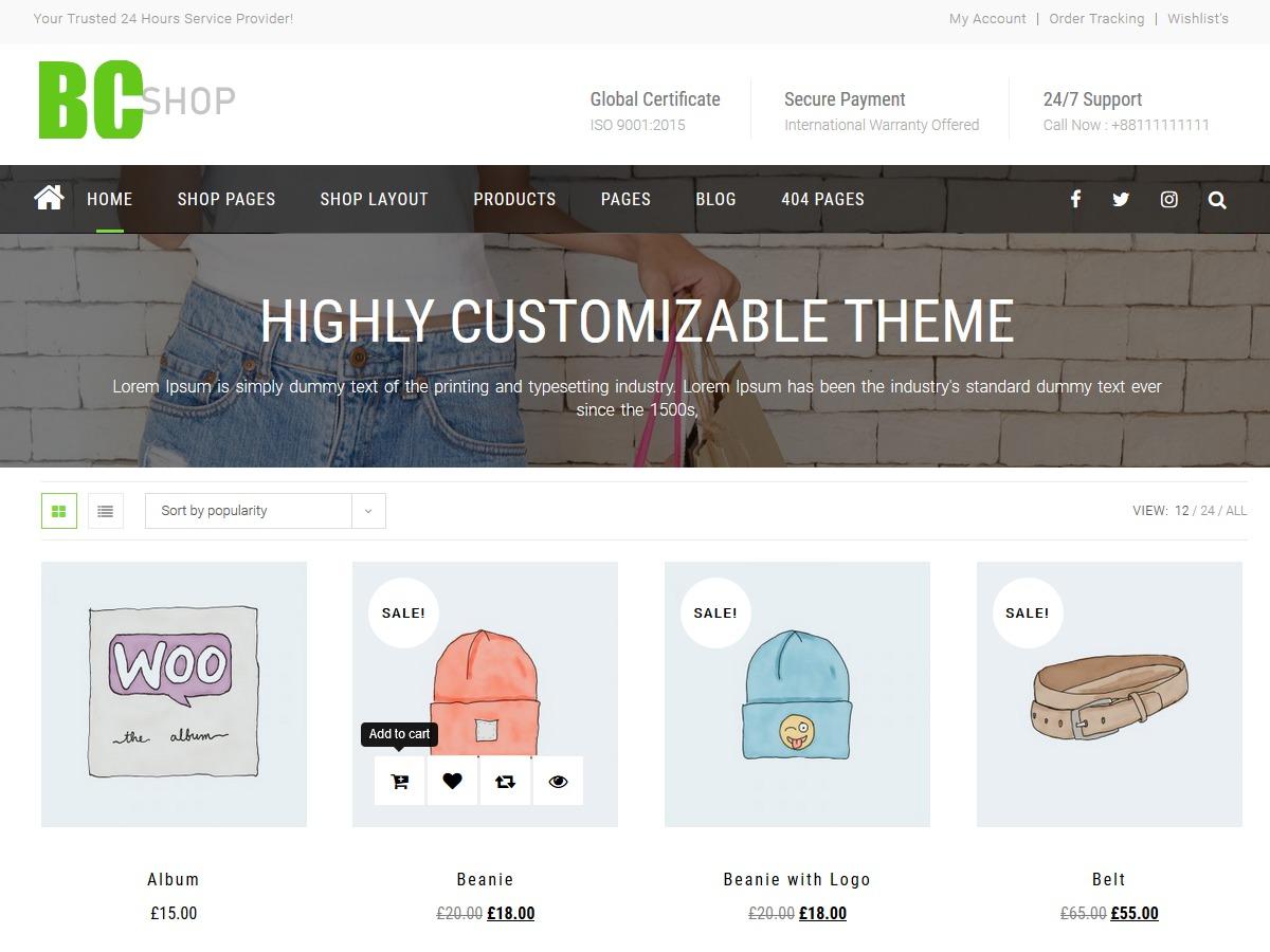 BC Shop WordPress shopping theme