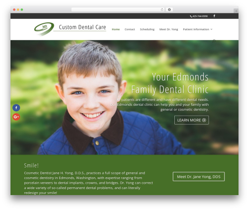 WordPress theme Custom Dental Care Edmonds Theme - Divi Child Theme - customdentalcareedmonds.com
