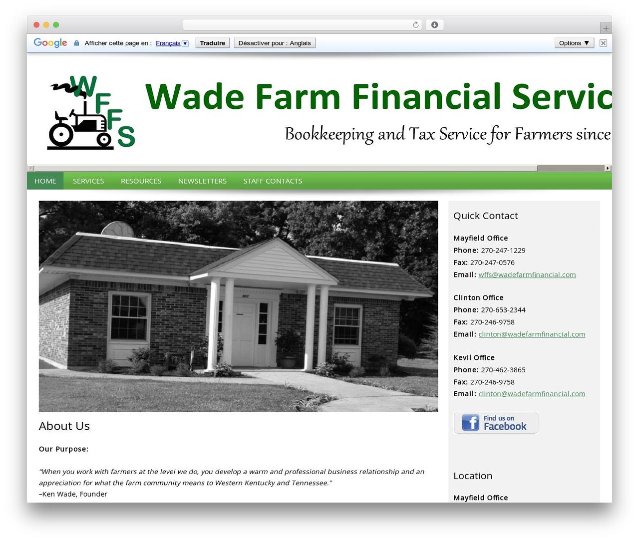 Customized business WordPress theme - wadefarmfinancial.com