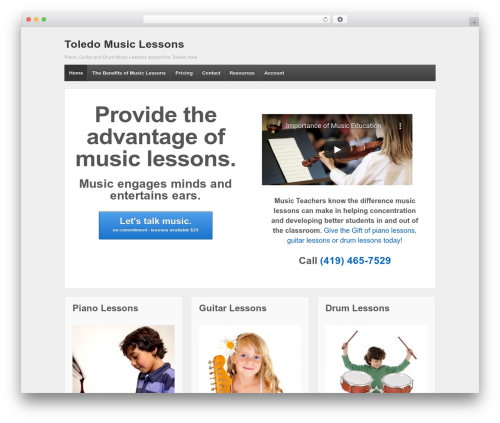 Responsive best free WordPress theme - toledomusiclessons.com