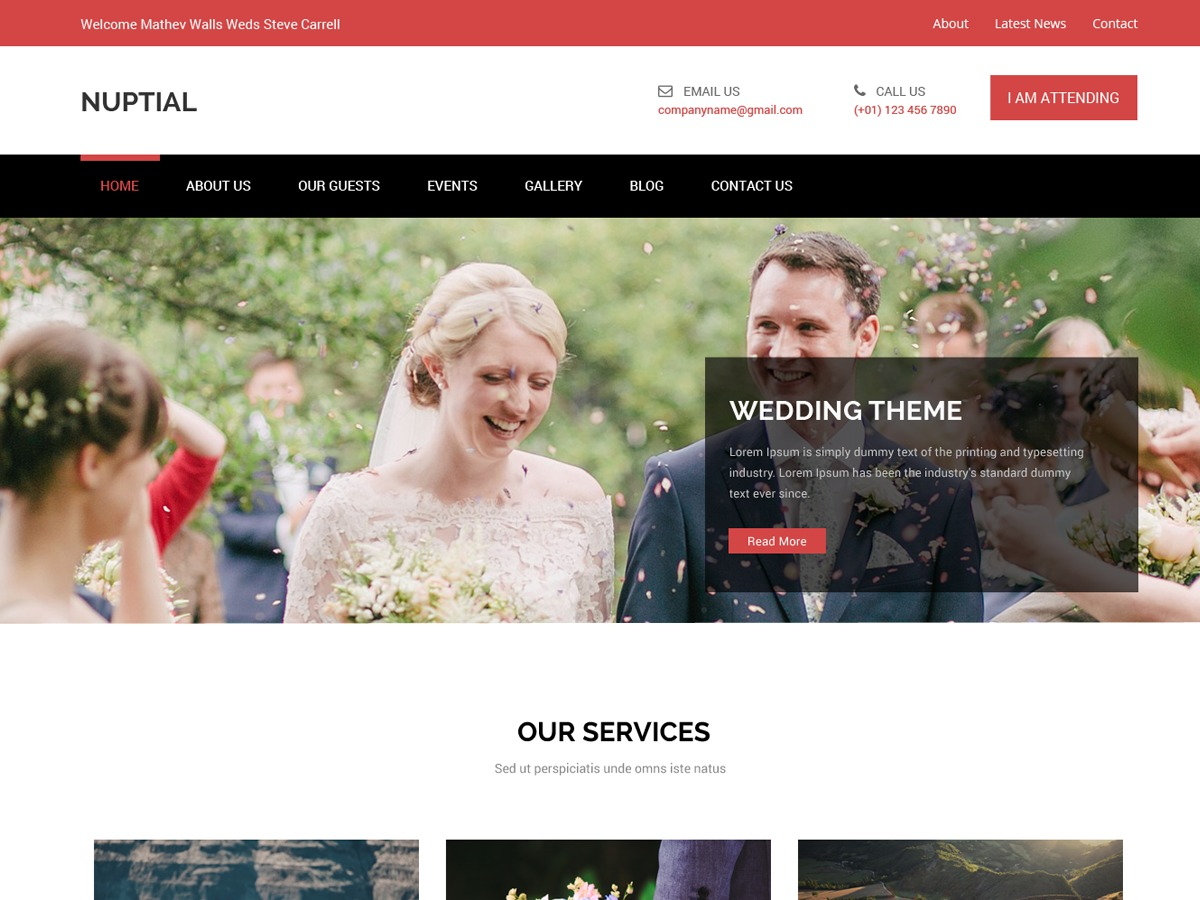 Nuptial WordPress wedding theme