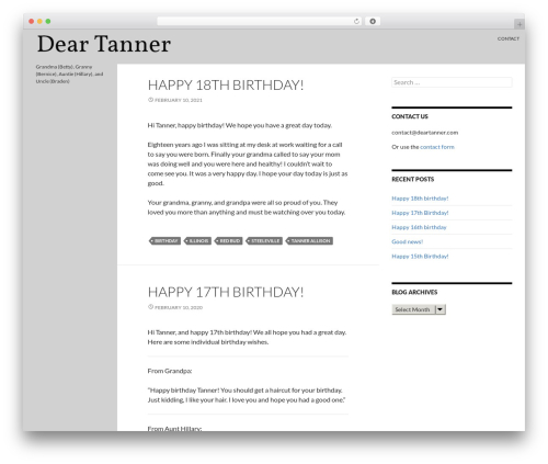 Twenty Fourteen WordPress blog template - deartanner.com