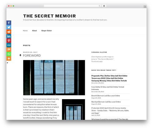 Twenty Seventeen free WordPress theme - thesecretmemoir.com