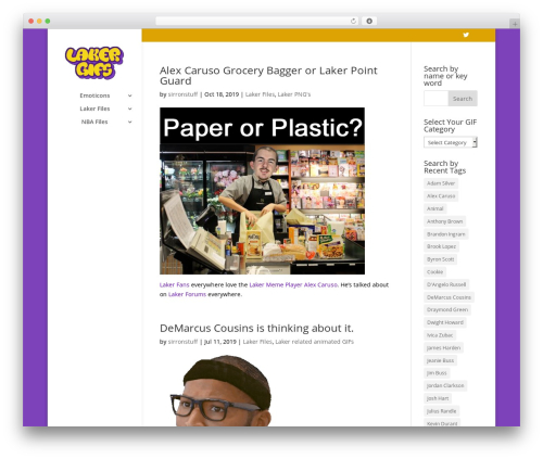 Divi WordPress website template - lakergifs.com