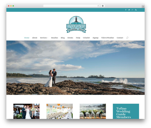 Divi best wedding WordPress theme - tofinoweddingguide.com