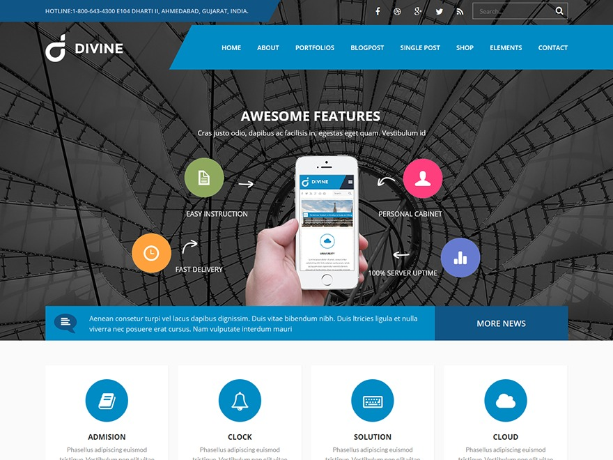 Divine WordPress portfolio template