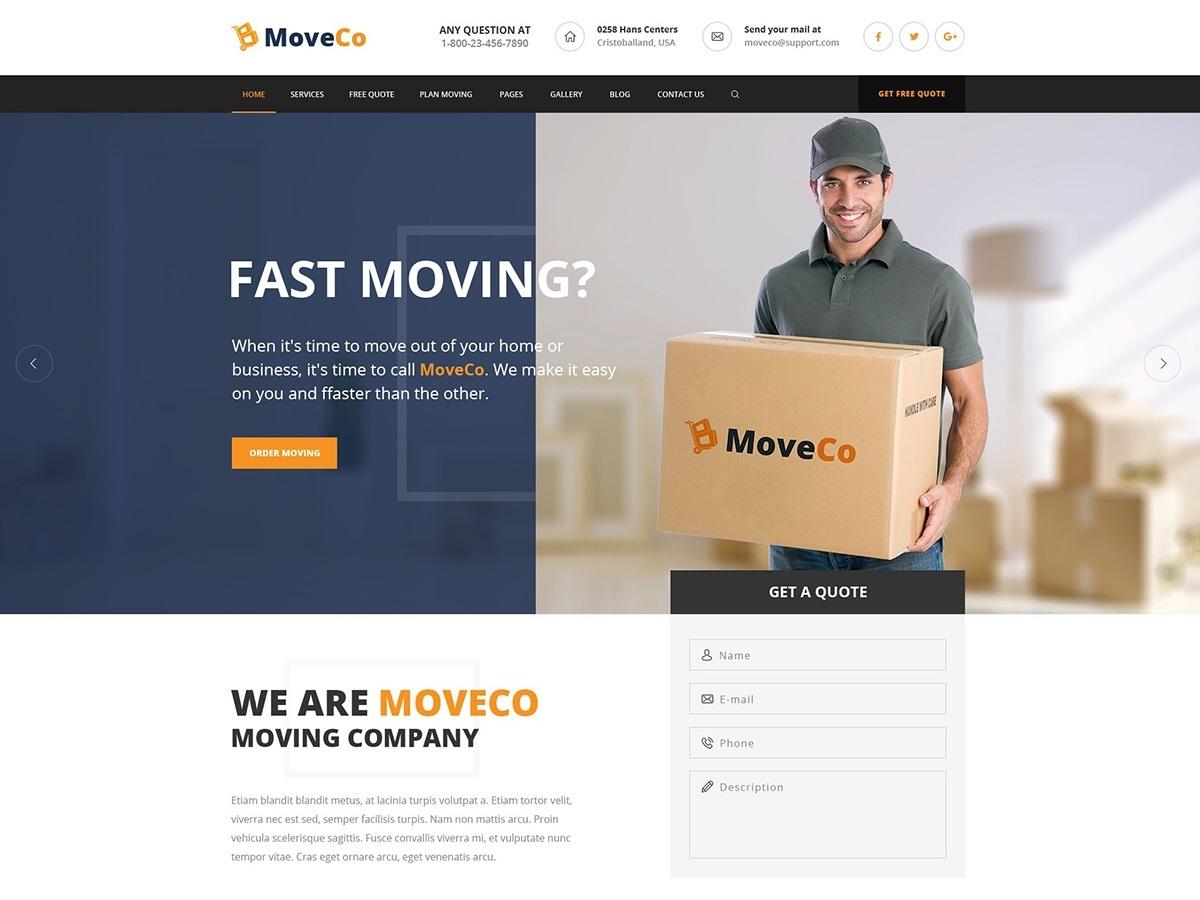 G5Plus MoveCo business WordPress theme