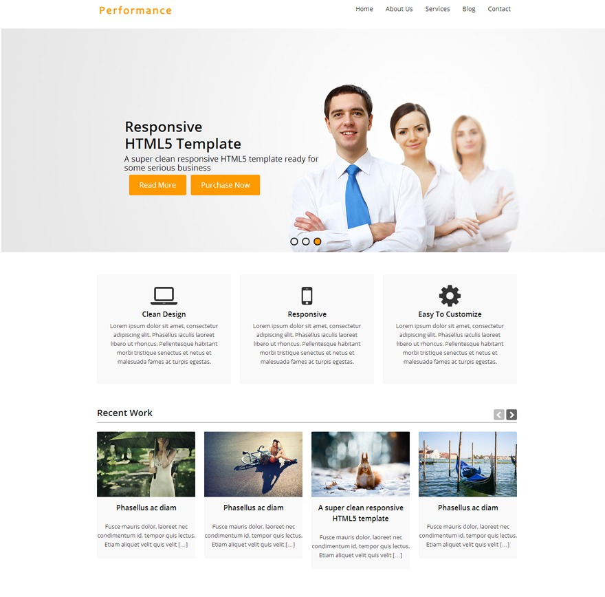 Performance WordPress template for business