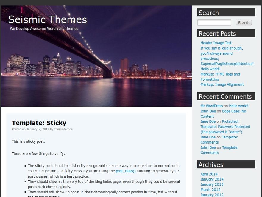 WordPress theme Seismic Manhattan