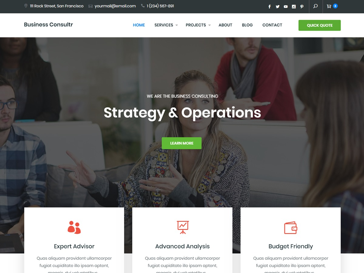 Business Consultr WordPress template for business