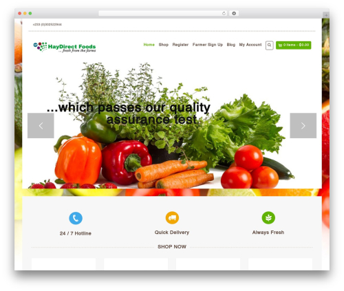 Organic Web Shop food WordPress theme - haydirectfoods.com