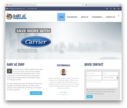 Creativo Theme WordPress template - gabyairconditioning.com