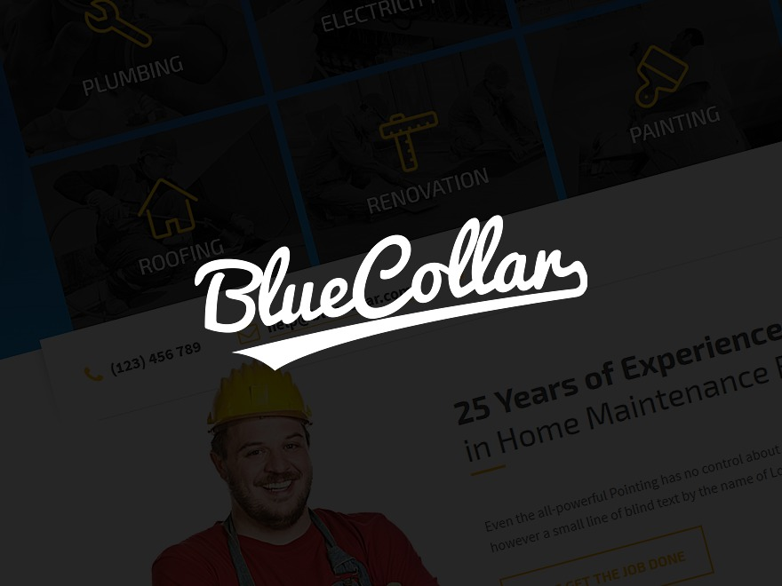WordPress theme Blue Collar