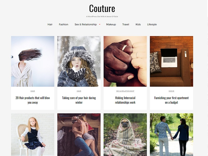 Best WordPress theme Couture Child