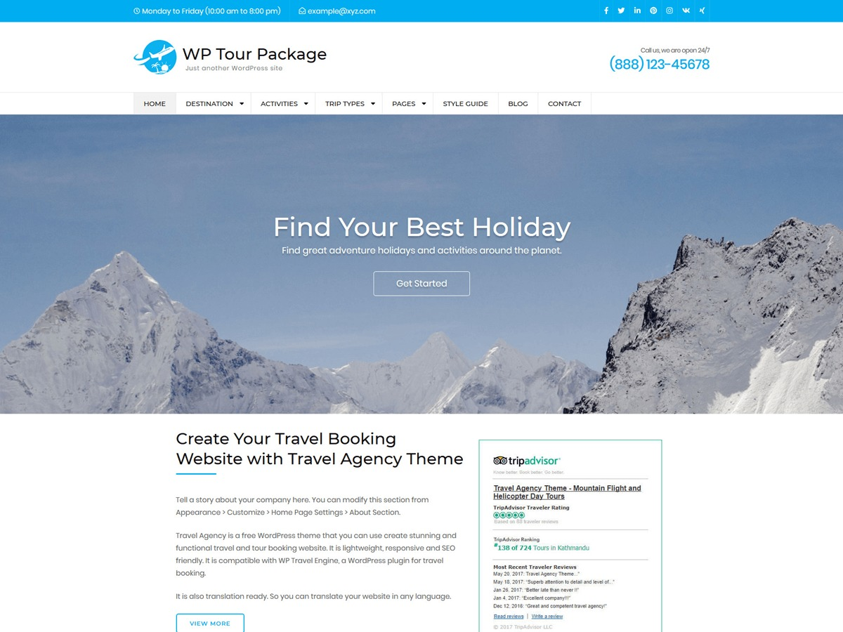 WP Tour Package WordPress hotel theme