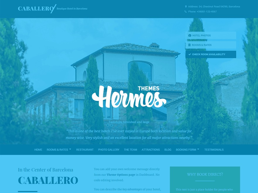Caballero best hotel WordPress theme