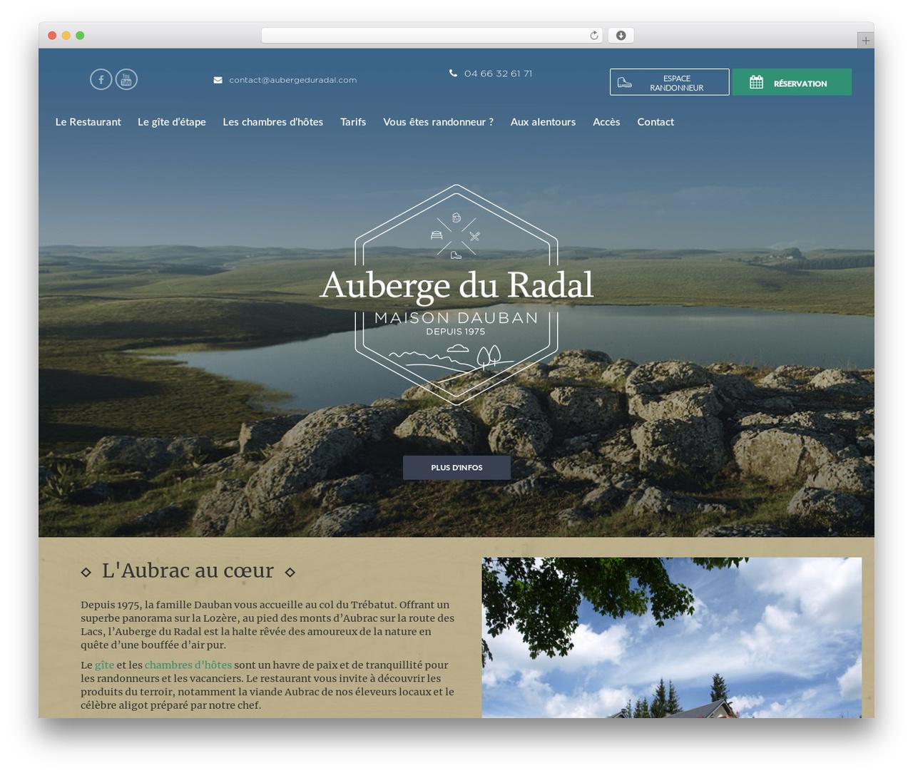 Theme BMS best restaurant WordPress theme - aubergeduradal.com