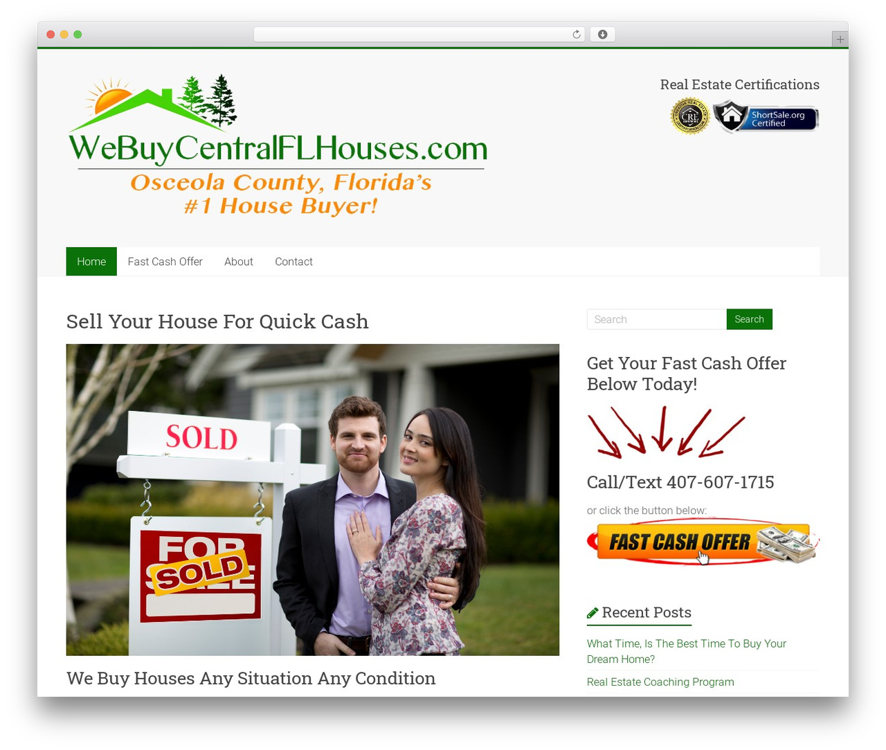 WordPress theme Accelerate - webuycentralflhouses.com