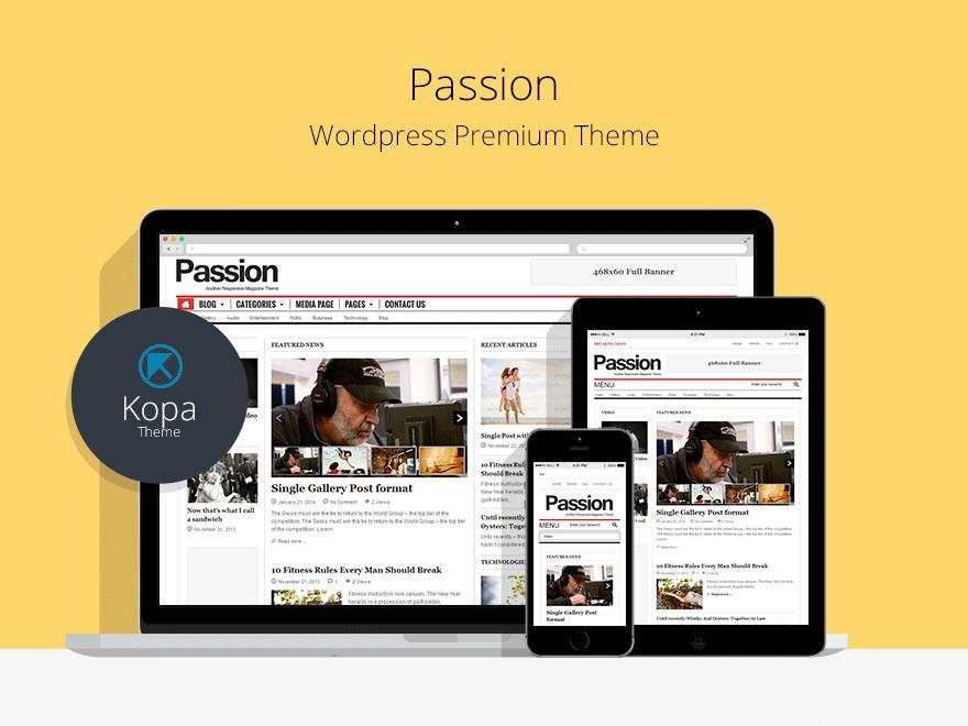 Passion (shared on wplocker.com) WordPress news theme