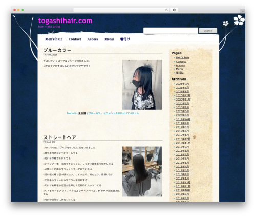 Pretty Parchment WordPress page template - togashihair.com