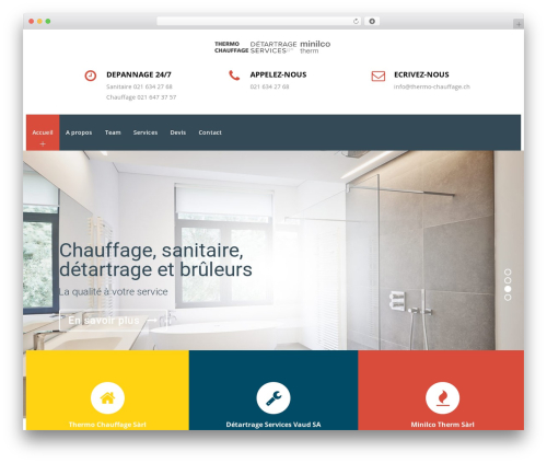Veda WordPress theme design - thermo-chauffage.ch