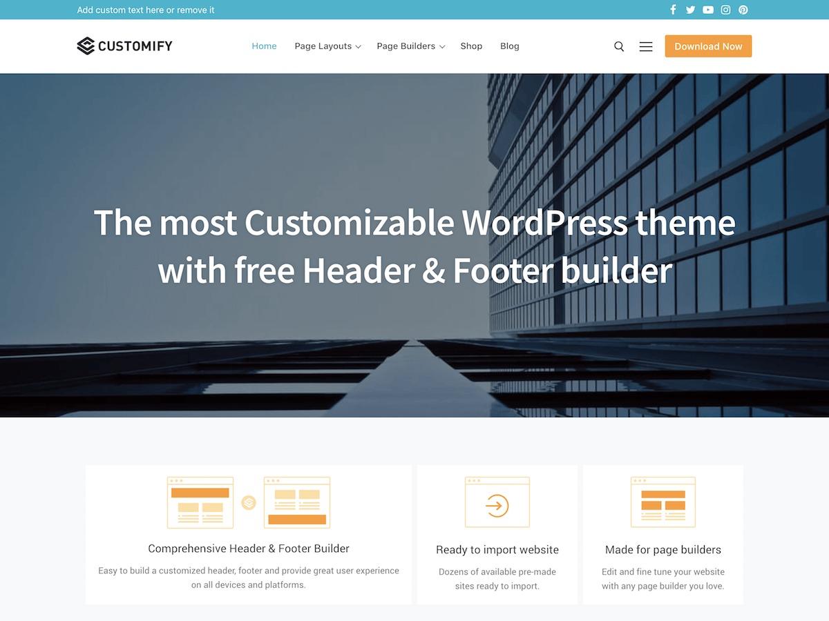 Customify Child business WordPress theme