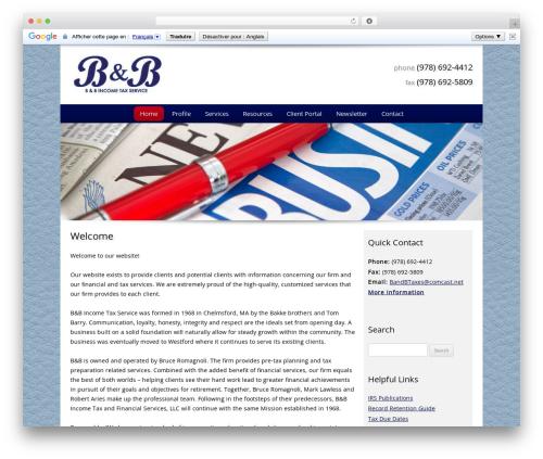 Customized business WordPress theme - bandbincometaxservice.com