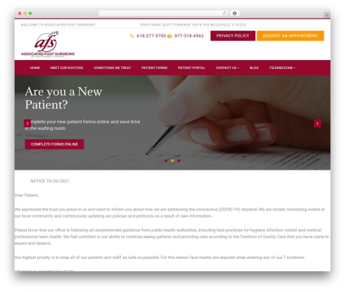 WordPress template PhysioPlus - associatedfoot.com