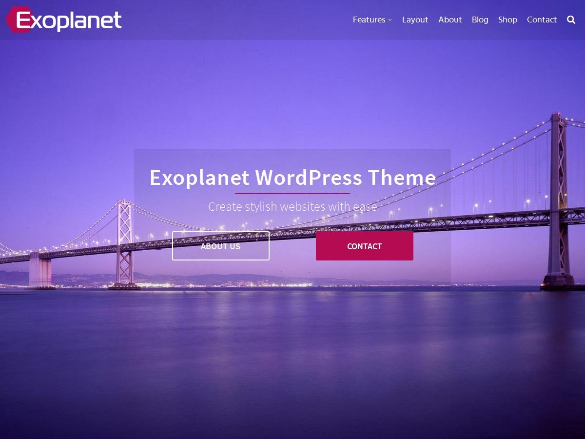 Exoplanet personal blog WordPress theme